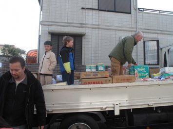 Loading the rental truck with relief supplies.