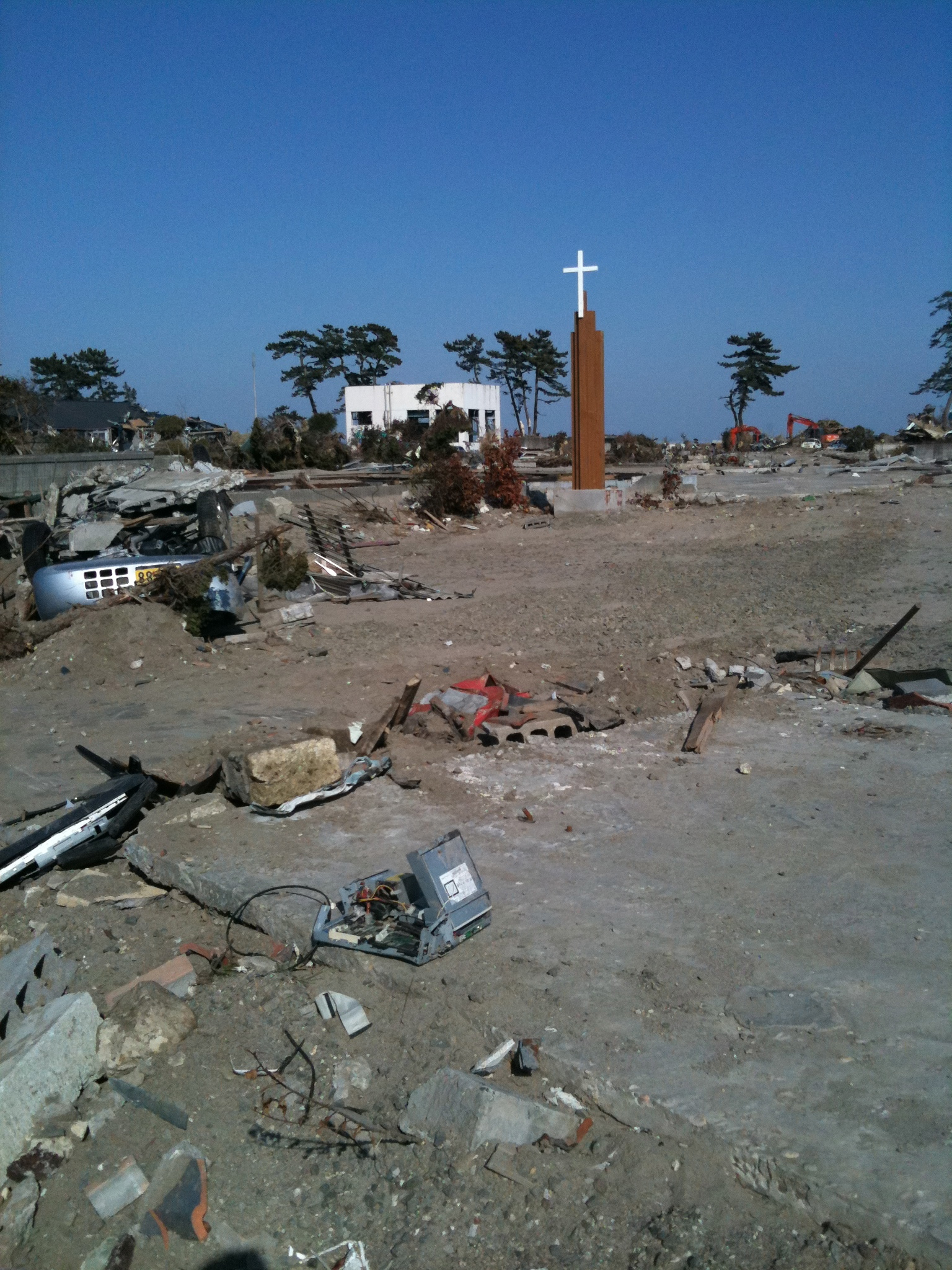 On the site of the Seaside Bible Chapel (only the foundation was left) after the tsunami ravaged the coastline of Japan on March 11, 2011.