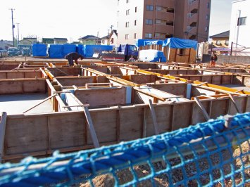 Construction site for a new apartment building for evacuees displaced by the nuclear crisis in Fukushima.