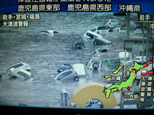 Tsunami reports on Japanese TV
