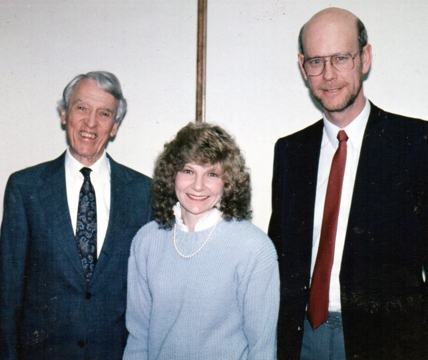 Dr. Robert Munger with Rod & Sue Denton at Lake Avenue Congregational Church in Pasadena USA (1991)