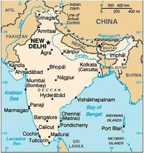 India Map Asia.Asian Access India